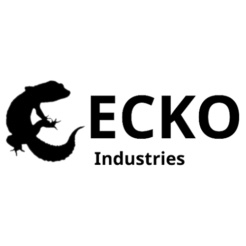Gecko Ind. Logo (Black silhouette of a gecko making the 'G' in 'Gecko')