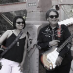 The Hazy Blues with their guitars