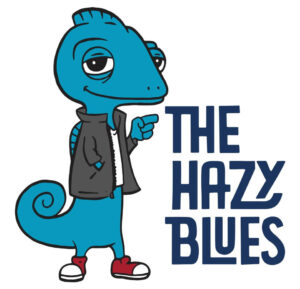 Blue chameleon that is The Hazy Blues' mascot.