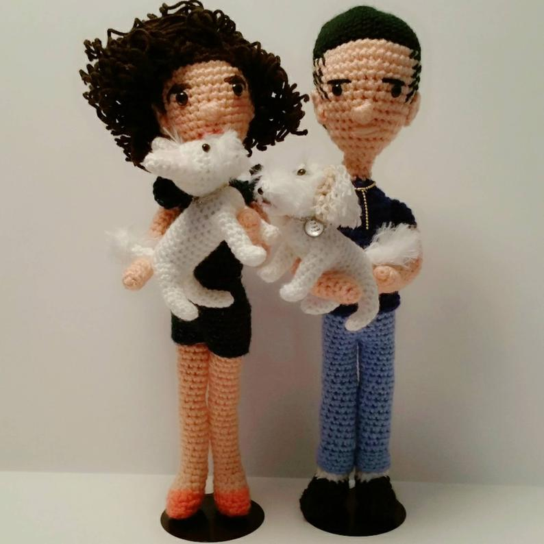 Crocheted couple and dogs