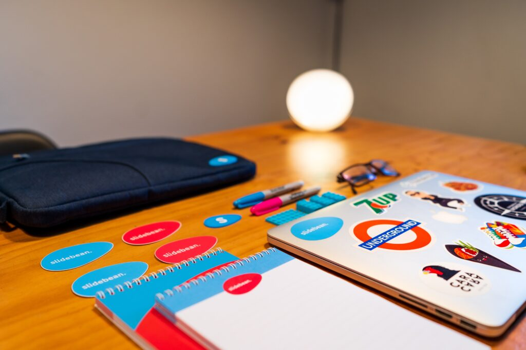 Blue, red, and white items creating a unified brand.